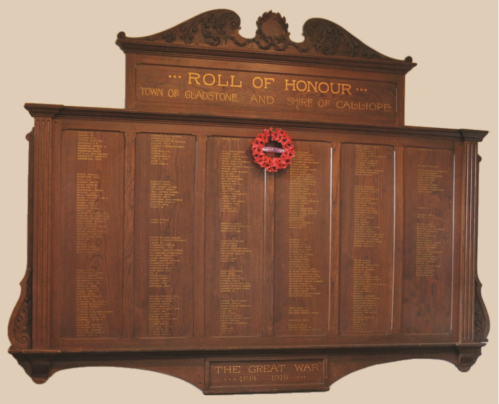 Town of Gladstone and Shire of Calliope WWI Roll of Honour, on permanent display at the Gladstone Regional Art Gallery & Museum (Photographer: E.H. Gallaher)