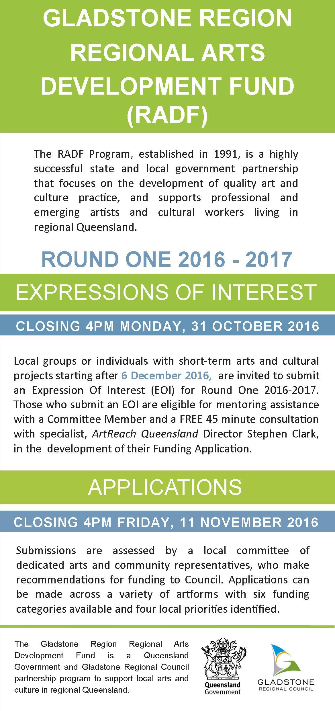 Gladstone Region Regional Arts Development Fund (RADF) Round