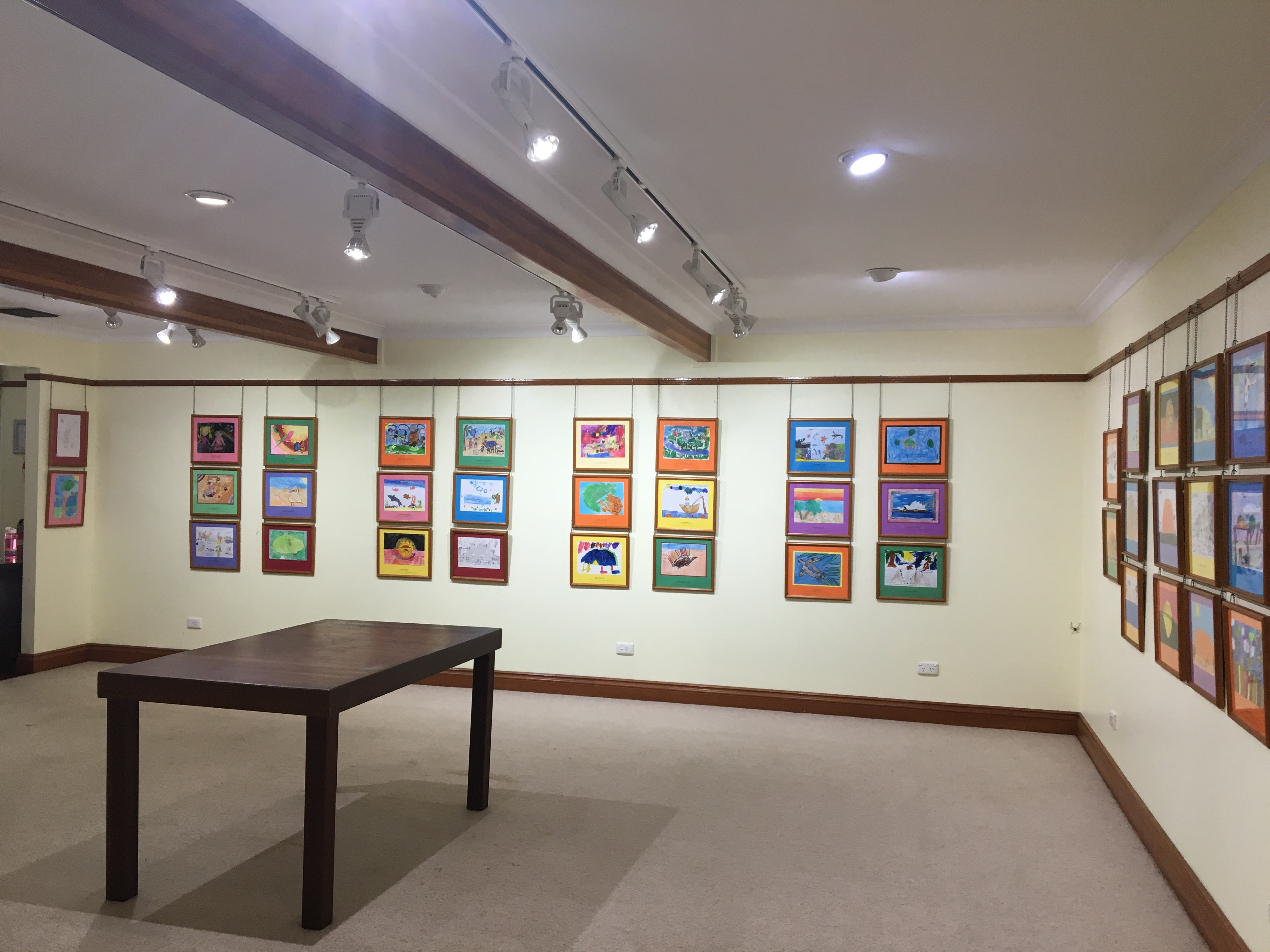 Artworks on display awaiting announcement of primary school winners