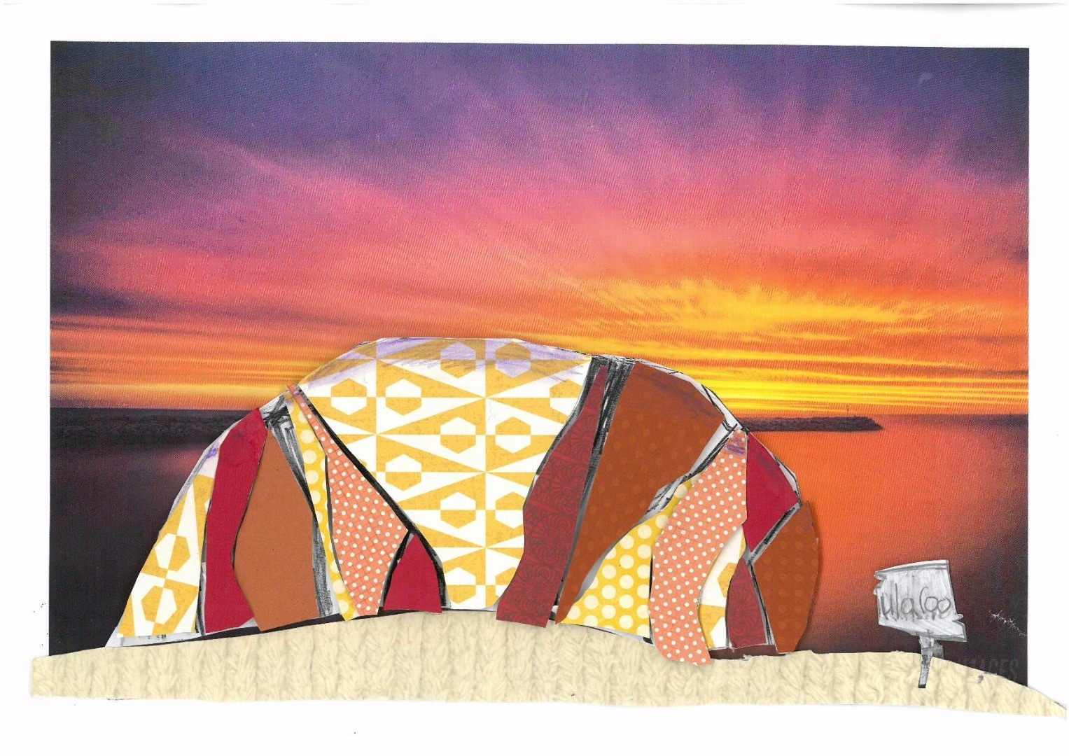 2017 Celebrate Australia Primary School Art Competition Highly Commended Section Two: Sun Hidden Behind Uluru by Alice Falconer