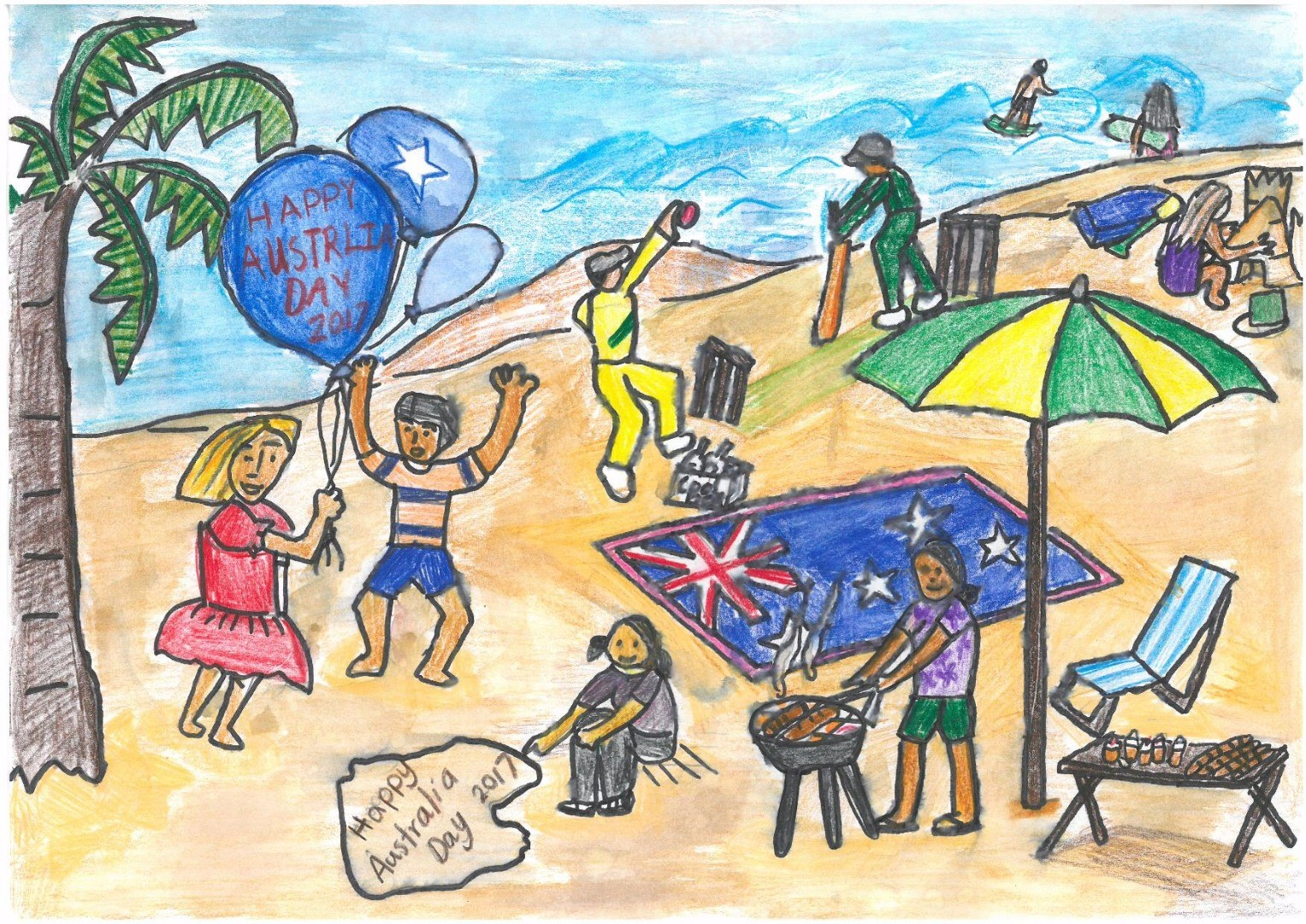 2017 Celebrate Australia Primary School Art Competition Third Place Section One: Happy Australia Day 2017 by Adayat Anis