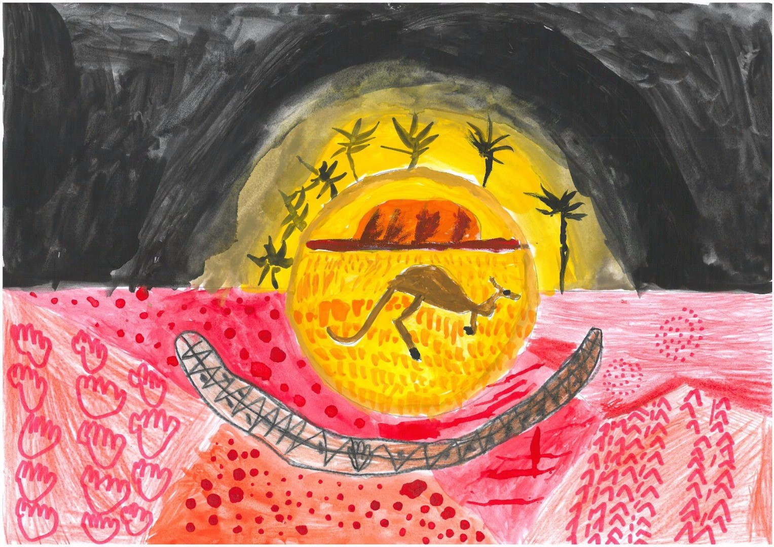2017 Celebrate Australia Primary School Art Competition First Place Section One: Aboriginal Flag by Ashton Little