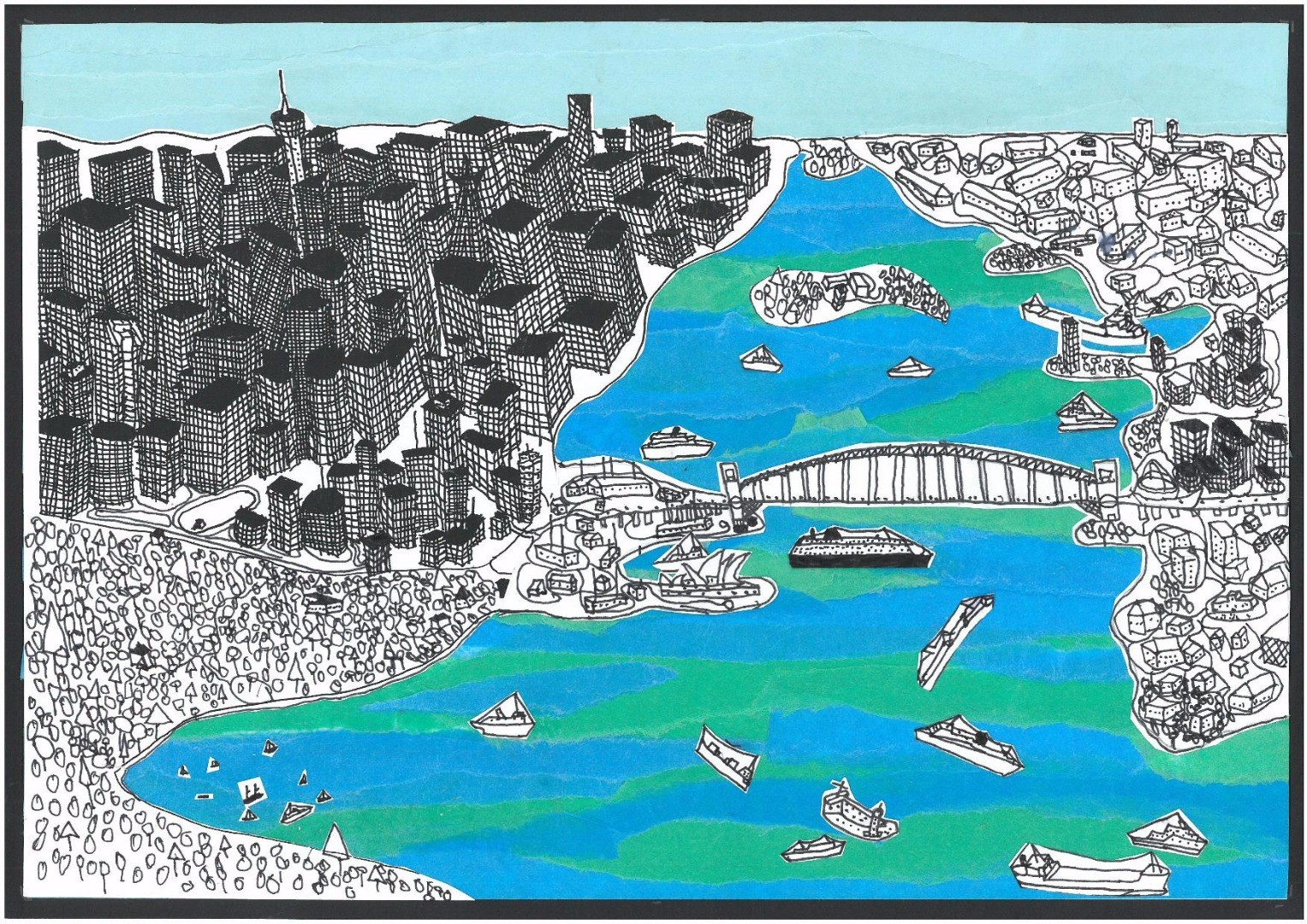 2017 Celebrate Australia Primary School Art Competition First Place Section Two: Bird's Eye View of Sydney Harbour (2016) by Michael Marriott
