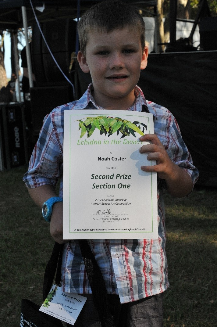 Noah Coster, 2017 Celebrate Australia Primary School Art Competition Second Prize Section One Winner, at the Gladstone Regional Council Australia Day Celebrations and Awards Presentation.  Image: D. Paddick