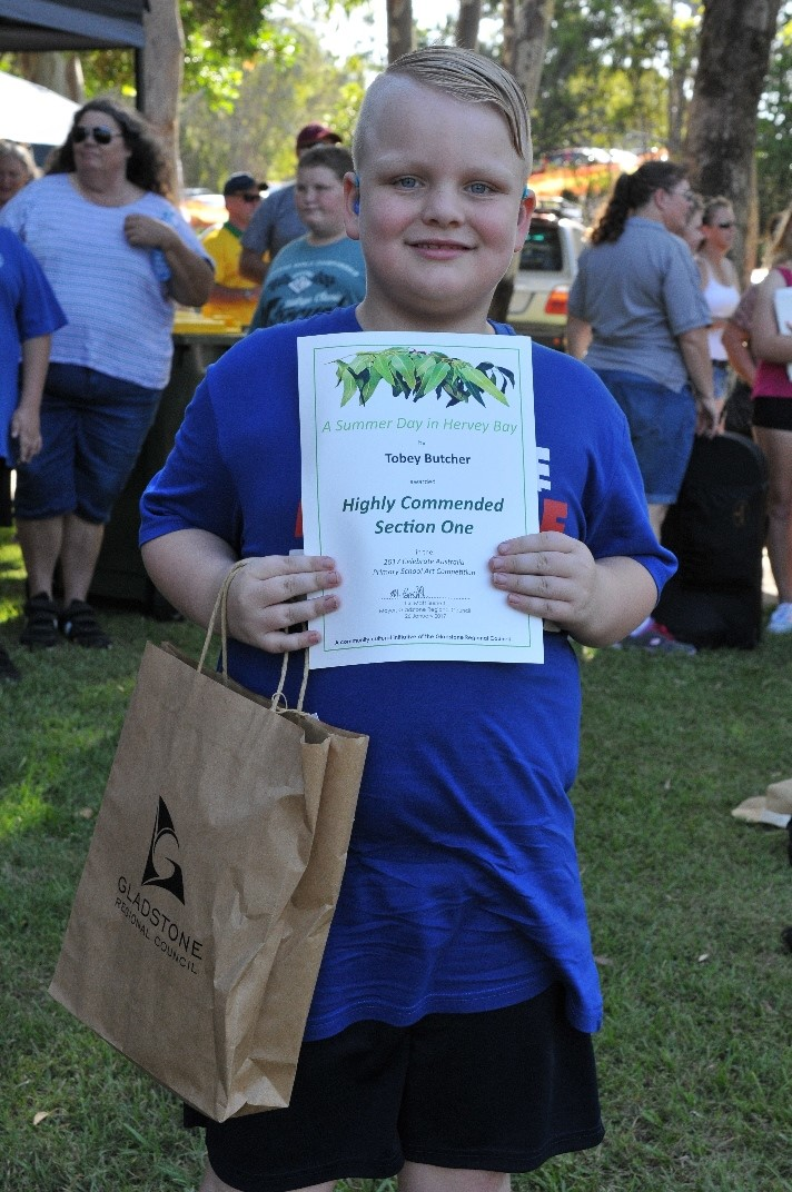 Tobey Butcher, Highly Commended Section One, 2017 Celebrate Australia Primary School Art Competition, at the Gladstone Regional Council Australia Day Celebrations and Awards Presentation. Image: D. Paddick