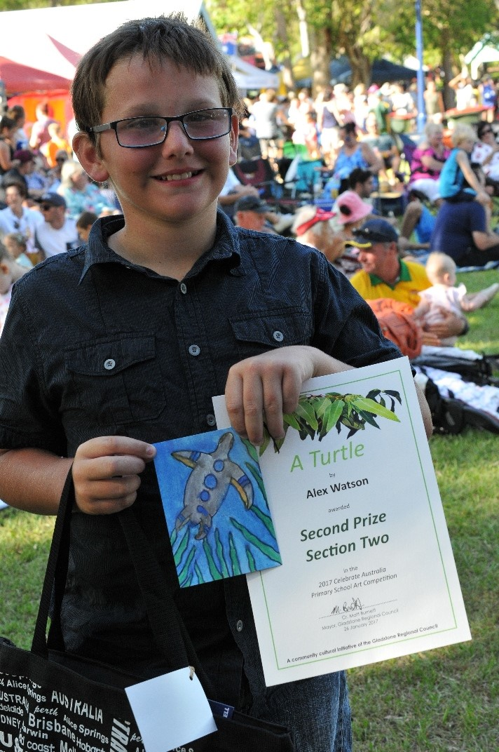 Alex Watson, 2017 Celebrate Australia Primary School Art Competition Second Prize Section Two Winner, at the Gladstone Regional Council Australia Day Celebrations and Awards Presentation. Image: D. Paddick