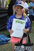 Cadence Ware, 2017 Celebrate Australia Primary School Art Competition Third Prize Section Two Winner, at the Gladstone Regional Council Australia Day Celebrations and Awards Presentation. Image: D. Paddick