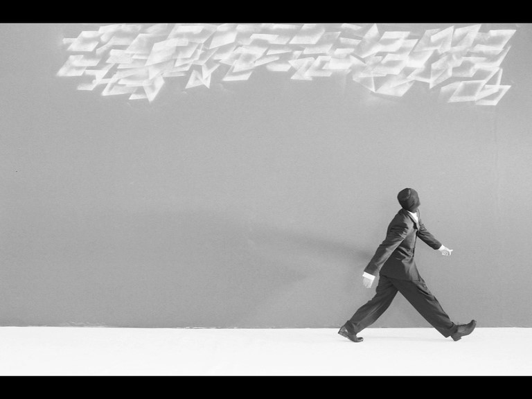 ROBIN RHODE / South Africa b.1976 / Promenade (still) 2008 / Digital Betacam transferred to DVD: 5 minutes, HD animation, black and white, stereo, ed. 4/6 / Purchased 2009 with funds from Tim Fairfax, AM, through the Queensland Art Gallery Foundation / Collection: Queensland Art Gallery