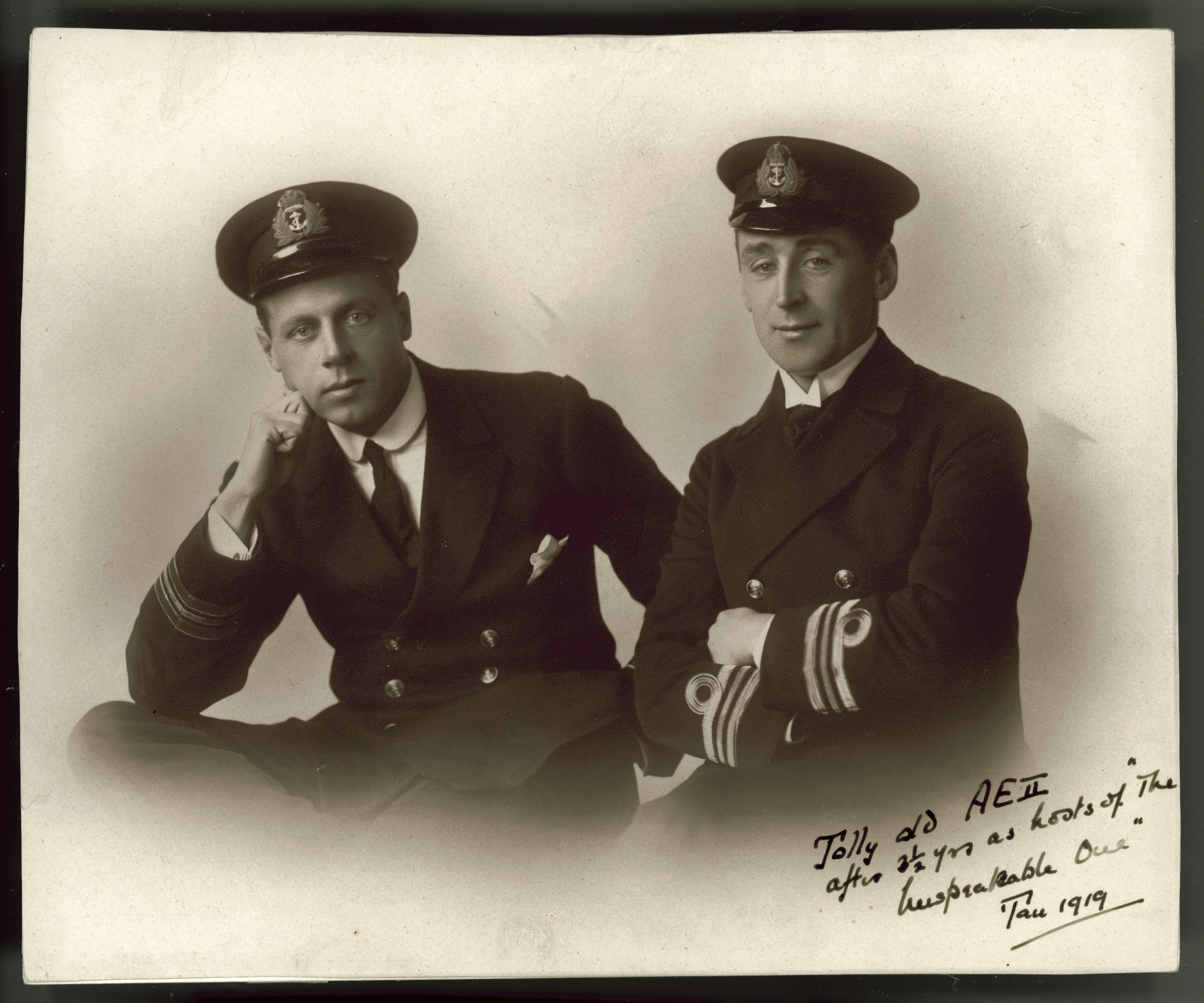Lieutenant Geoffrey Haggard and Commander Henry G Stoker of AE2 in 1919, ANMM Collection Gift from Jennifer Smith