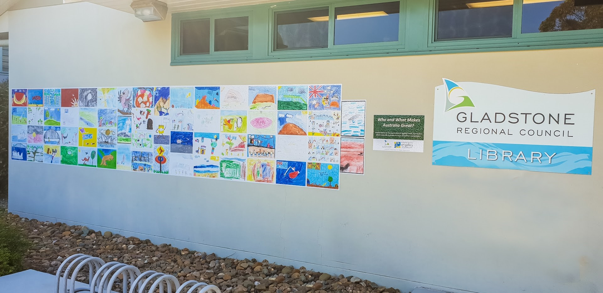 2018 Celebrate Australia Primary School Art Competition, pop up public art installation, Agnes Water Library  (Image: Kim Cooke Photography)